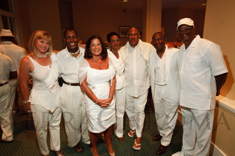 (Denver, Colorado, Aug. 27, 2011)<br /> Lindsey Zimmerman; Morris Price, Jr.; Rita Kahn; Kayleen Hollines; Bob Willis; Wayne Baden; and Jerome Whitney (executive board chair).  Summer White Party, hosted by the Urban League of Metropolitan Denver, at Green Gables Country Club in Denver, Colorado, on Saturday, Aug. 27, 2011.<br /> STEVE PETERSON
