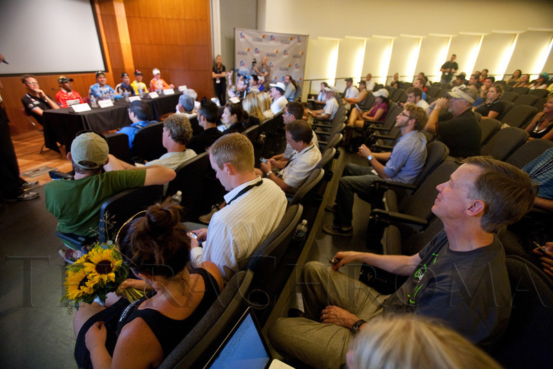 (Golden, Colorado, Aug. 28, 2011)<br /> Governor John Hickenlooper (lower right) sits in on the press conference with the jersey winners.  The USA Pro Cycling Challenge, Stage 6, from Denver to Golden, Colorado, on Sunday, Aug. 28, 2011.<br /> STEVE PETERSON