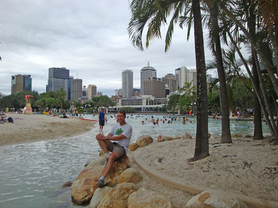 This delightful urban beach on South Bank, just south of the main river, was completely flooded when the river broke its banks in the 2011 floods, a few weeks later.