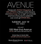 Cocktail Party hosted by AVENUE MAGAZINE & LISA LIPPMAN of Brown, Harris Stevens & Wells Fargo to Celebrate Avenue Magazine's July Cover Featuring BYRDIE BELL on Tuesday, July 19, 2011 at 535 West End Avenue, Upper West Side, New York City, NY  PHOTO CREDIT: ©Manhattan Society.com 2011