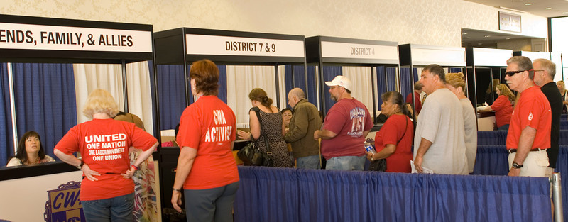 CWA members in line to register for the 73rd CWA Convention.