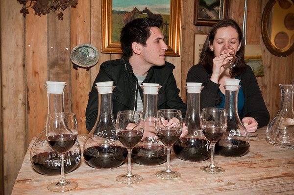 "Once we had all 5 vintages poured into beakers we got to taste a glass of each of the vintages and take notes. Here Sasha and Jason are tasting the '07 Mouvedre, which was super sweet and had the lowest yield (so you couldn't use much of it in your blend or it wouldn't be ""producable"")."