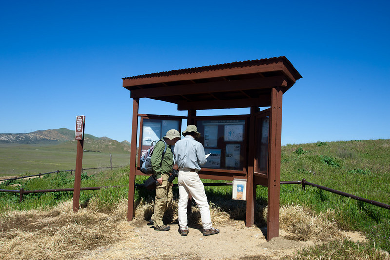 Getting information at the Soda Lake overlook