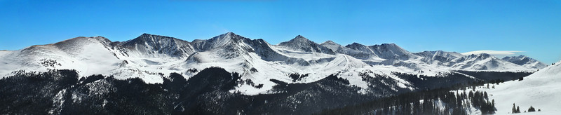 Panorama of the Rocky Mountains, taken from midway up Copper Mountain Resort.