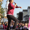 The ladies from Curves get the crowd warmed up for the annual American Cancer Society Making Strides Against Breast Cancer walk at Woodbury Common Premium Outlets in Central Valley, NY on Sunday, October 16, 2011. Hudson Valley Press/CHUCK STEWART, JR.