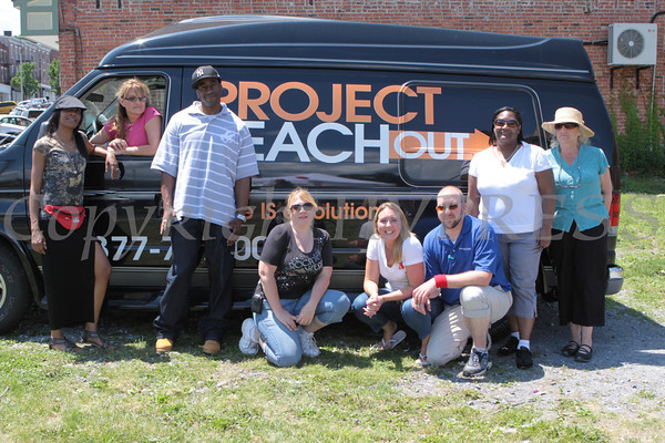 Tharicia McZoren (MISN) Cynthia Cuccia-Montagnino (Project Reach Out), Maurice Bacote (Project Reach Out), Dawn Walkin (TEAM Newburgh), Kristina Hanlon (AIDS-Related Community Services), David DesLauriers at the HIV Testing Day event held in the City of Newburgh on Monday, June 27, 2011. Hudson Valley Press/CHUCK STEWART, JR.