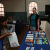 Health Educator Jessie Kowalczik of Planned Parenthood Mid-Hudson Valley hands out information during the open house for the Open Space Program at St. George's Church on Grand Street in Newburgh, NY on Thursday, September 22, 2011, looking for a fun art & literacy program for their children. The program runs Thursday afternoon from 3:30-5:30 P.M. October thru May. Hudson Valley Press/CHUCK STEWART, JR.