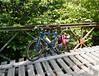 Bike on bridge over creek