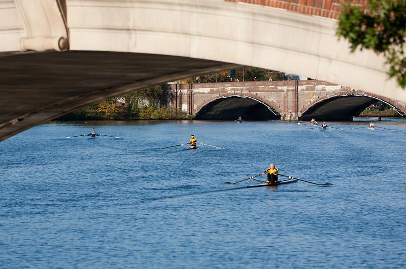 Senior Veteran Single Men racing towards Anderson bridge