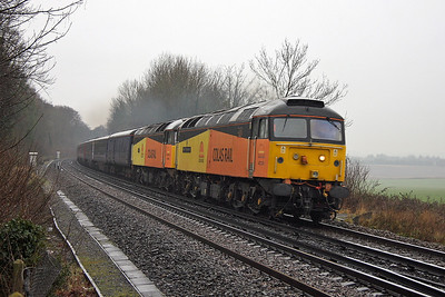 47739 Micheldever 19/12/11 5Z25 Eastleigh to Carlisle with 47749 and 12 FGW Mk3 Buffet coaches plus barriers