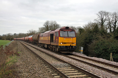 60071 Bedwyn 27/12/11 6B33 Theale to Robeston diverted back down the B&H due to engineering work in the Reading area