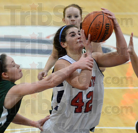 Tribune-Star/Jim Avelis<br /> Hold on there: Brooklyn Waters stops a shot by Terre haute North's Nicole Anderson in second quarter action.