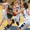 Tribune-Star/Jim Avelis<br /> Heavy traffic: West Vigo guard Brooklyn Waters drives through Terre Haute North defenders Layne Curley(33) and Morgan Seeley(3) as she approaches Nicole Anderson(42).
