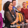 Tribune-Star/Jim Avelis<br /> Overcome: Fuqua Elementary School principal Mary Beth Harris wells up with tears as she takes her turn at the podium Thursday. She was honored by local dignitaries, family members, her staff and students after being chosen the Indiana Elementary Principal of the Year.