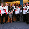 Tribune-Star/Jim Avelis<br /> Role model: Teachers at Fuqua Elementary School wore t-shirts with photos of their principal, Mary Beth Harris to school Thursday. Harris was recently named the Elementary Principal of the Year for Indiana.