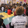 Tribune-Star/Jim Avelis<br /> Simply put: T-shirts proclaiming their principal the best were worn by the staff of Fuqua Elementary School Thursday. The day ended with an all-school assembly where Mary Beth Harris received accolades from several city dignitaries.