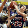 Tribune-Star/Jim Avelis<br /> Hacked: Terre Haute North forward Lindsey Clark gets fouled by Sullivan's Caelen Jones on a breakaway attempt in first half action on the Golden Arrows' court.