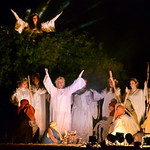 Tribune-Star/Joseph C. Garza<br /> Behold, a savior is born: Angels appear to shepherds to announce the birth of Christ during the Union Christian Church live nativity program Sunday.