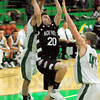 To the hoop: Northview's #20 Dillon Reynolds drives the baseline during action against West Vigo Friday night.