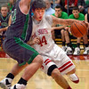 Driver: South's #44, Lucas Steward drives the ball down the baseline during game action Friday night.