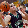 Eye on the prize: West Vigo's #30, Cody Thornton hauls in a rebound during first quarter action against Terre Haute South Friday evening.