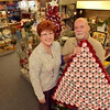 Tribune-Star/Joseph C. Garza<br /> Fun stuff on hand: Karen and Lynn Allen have opened a second Another Man's Treasure that offers more collectibles. Here, the couple stand in their Ohio Street location with one of Lynn's creations.