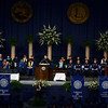 Tribune-Star/Joseph C. Garza<br /> Words of encouragement: Dean R. Hirsch, speaker of the winter commencement, addresses the graduates Saturday at Hulman Center.