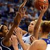 Tribune-Star/Jim Avelis<br /> In close: Deja Mattox shoots over the defense of UT Martin forward Rickiesha Bryant.