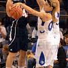 Tribune-Star/Jim Avelis<br /> Armed robbery: Natasha Zurek(00) strips the ball from UT Martin guard Travecia Franklin(44) as Shannon Thomas block the way.