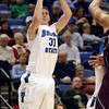 Tribune-Star/Joseph C. Garza<br /> He's open: Indiana State's R.J. Mahurin finds an open three-point shot against the Louisiana-Monroe defense Wednesday at Hulman Center.
