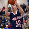 Strong to the hoop: North's #40, Ross Sponsler drives the ball and scores during game action against Owen Valley Wednesday evening.