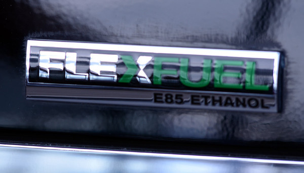 Flexfuel: Badge on the rear of a new Flexfuel vehicle indicating you can use E85 Ethanol.
