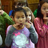 Warm-up: Members of the Children's Choir do a warm-up exercise during Wednesday rehearsal session..