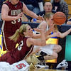 Tribune-Star/Jim Avelis<br /> Loose ball: Northview freshman Whitney Halfhill(13) reaches for the ball as she tangles with Terre Haute North's Morgan Stewart(5) and Layne Curley. Watching is Knight Sierra Girton.