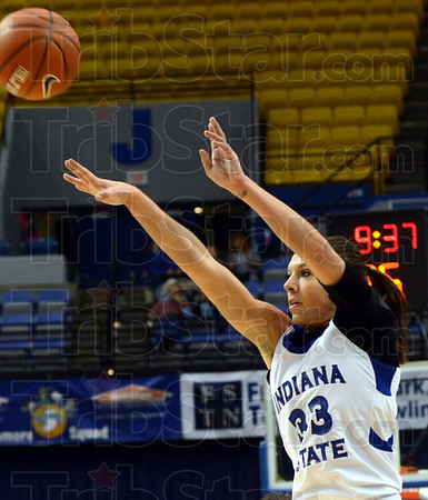 Three ball: Indiana State's #33, Anna Munn launches and buries a three-point-shot during game action against Butler at Hulman Center Tuesday night.