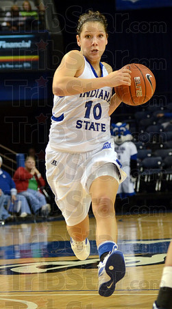 Driven: Indiana State's #10, Jessica Valley drives the ball hard to the basket during game action against Butler Tuesday evening at Hulman Center.