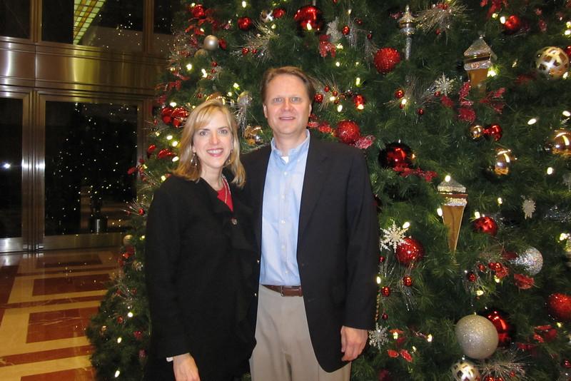 Scott and Elizabeth, at the BOA building lobby tree