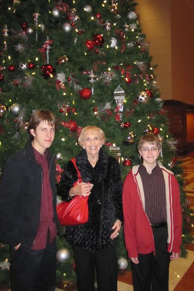 Nonna and the boys at the BOA building lobby tree