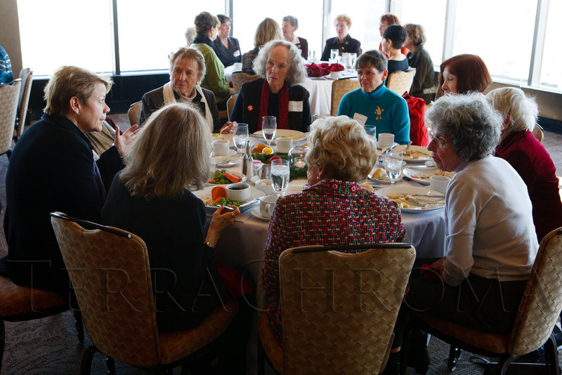 Marin Alsop, left, speaks with luncheon guests.  Luncheon hosted by the Colorado Symphony, introducing the Women of Note fundraising initiative, at the Pinnacle Club at the Grand Hyatt Denver in Denver, Colorado, on Friday, Dec. 16, 2011.<br /> Photo Steve Peterson