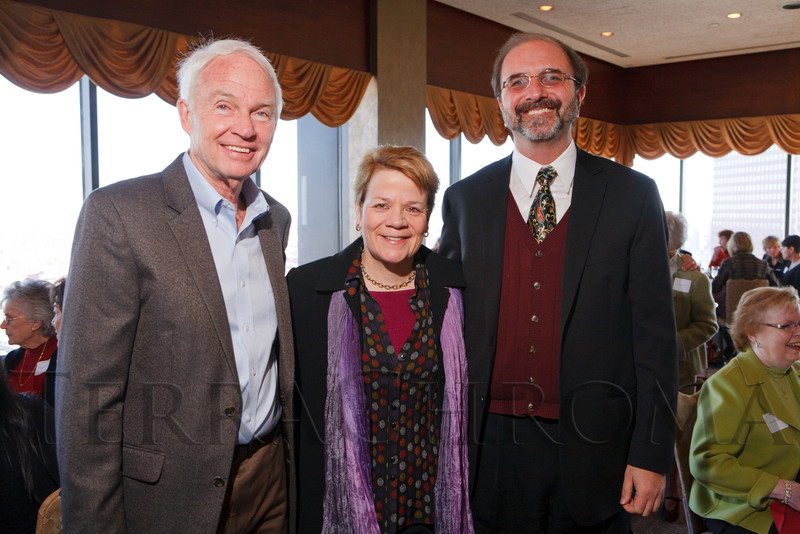 Jim Copenhaver (interim President and CEO, Colorado Symphony), Marin Alsop (Music Director of the Baltimore Symphony), and Gene Sobczak (incoming President and CEO, Colorado Symphony).  Luncheon hosted by the Colorado Symphony, introducing the Women of Note fundraising initiative, at the Pinnacle Club at the Grand Hyatt Denver in Denver, Colorado, on Friday, Dec. 16, 2011.<br /> Photo Steve Peterson