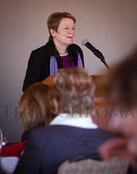 Marin Alsop speaks.  Luncheon hosted by the Colorado Symphony, introducing the Women of Note fundraising initiative, at the Pinnacle Club at the Grand Hyatt Denver in Denver, Colorado, on Friday, Dec. 16, 2011.<br /> Photo Steve Peterson
