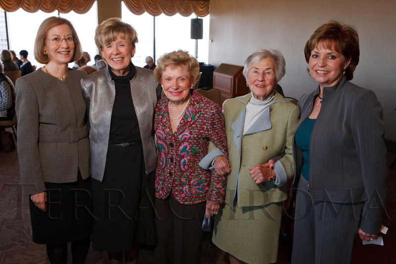 Women of Note steering committee:  Paula Bernstein, Terry Biddinger, Eileen Honnen, Erna Butler, and Sandy Lasky.  Luncheon hosted by the Colorado Symphony, introducing the Women of Note fundraising initiative, at the Pinnacle Club at the Grand Hyatt Denver in Denver, Colorado, on Friday, Dec. 16, 2011.<br /> Photo Steve Peterson