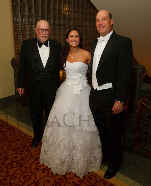 Gordon Shwayder Rosenblum, Abby Rosenblum, and her father, Gregory.  The 56th Annual Denver Debutante Ball at the Brown Palace Hotel & Spa in Denver, Colorado, on Thursday, Dec. 22, 2011.<br /> Photo Steve Peterson