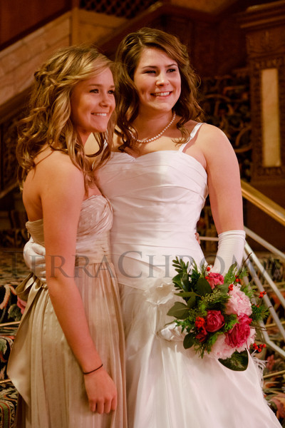 Morgan and Mikaela Hutchison pose for a formal photo.  The 56th Annual Denver Debutante Ball at the Brown Palace Hotel & Spa in Denver, Colorado, on Thursday, Dec. 22, 2011.<br /> Photo Steve Peterson