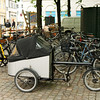 Bikes, including one of the ubiquitous cargo bikes