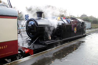 Steam 4247 awaits departure from Bodmin on a santa special