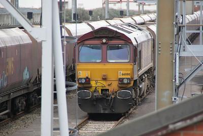66080 sits at Avonmouth Bulk Handling on a rake of HTAs.