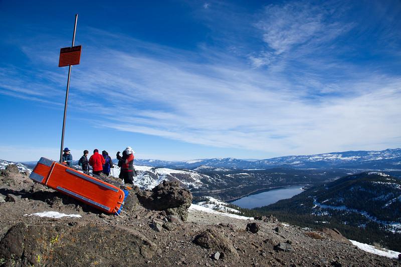 Exploring summit of Mt. Judah
