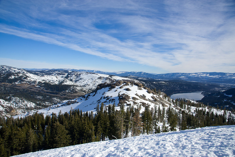 Donner Peak and lake, I-80 in the background