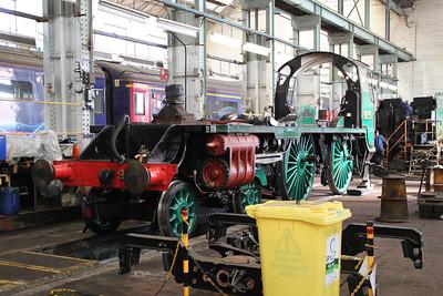 Steam 925 inside Eastleigh Works.